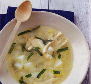 Zuppa di pollo e porri
