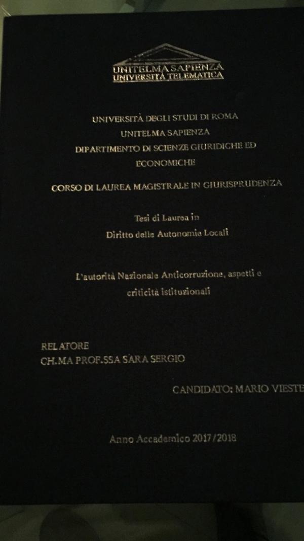 Università Sapienza Roma/ Corso di Laurea Magistrale in Giurisprudenza, conferita la laurea al nostro presidentone, Mario Vieste